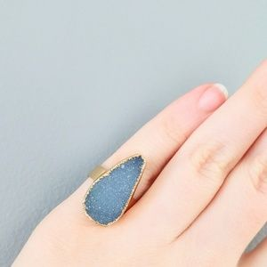 Jewelry - Gold-plated genuine agate druzy ring